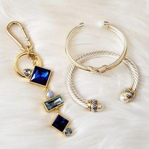 Fashion Accessories Blue Jewel Bag Charm Key Ring